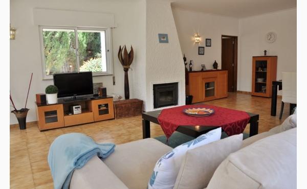 Wohnzimmer mit Klimaanlage, Kamin und Zugang zur Terrasse / Livingroom with Aircon and Fireplace