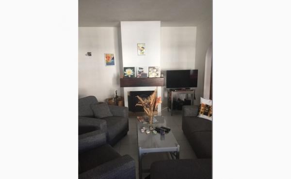 Wohnzimmer mit Klimaanlage, Kamin und Balkon / Livingroom with Aircon, Fireplace and Balcony