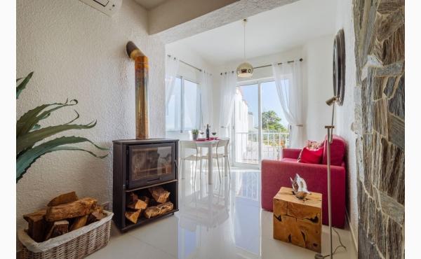Wohnzimmer mit Holz-, Kohleofen / livingroom with wood stove